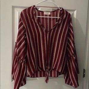 Burgundy and white striped shirt
